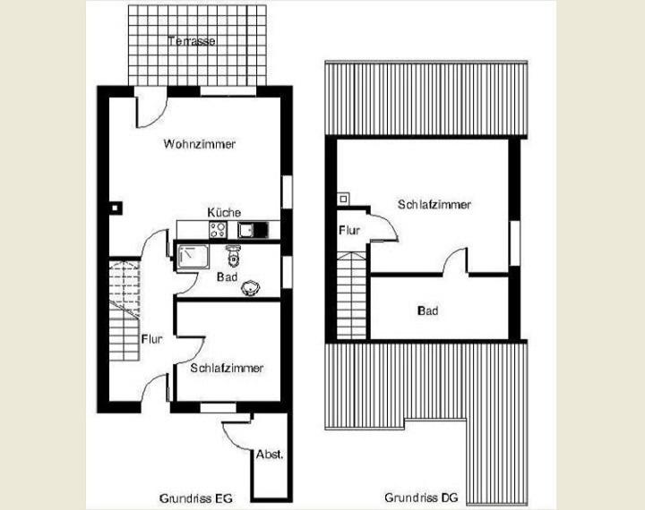 Gundriss Erdgeschoss und Dachgeschoss